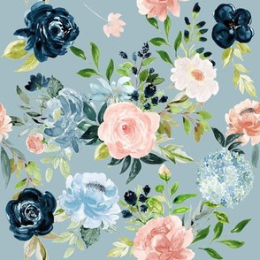 Blush and Indigo Whimsy Florals // Tower Gray Blue