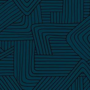 Little Maze stripes minimal Scandinavian grid style trend abstract geometric print winter navy blue
