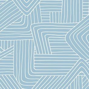 Little Maze stripes minimal Scandinavian grid style trend abstract geometric print monochrome baby blue