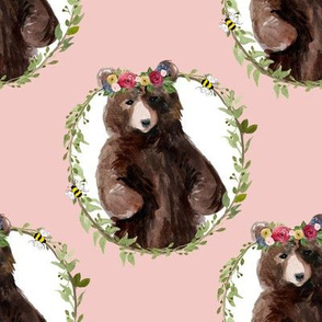 "8"" Woodland Floral Bear Pink"