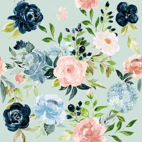 Blush and Indigo Whimsy Florals // Paris Green