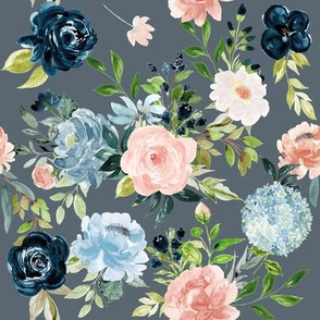 Blush and Indigo Whimsy Florals // Shuttle Gray