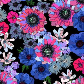 cactus flower fantasy - pink & blue on navy