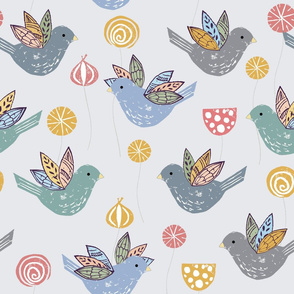 Meadow Birds on Grey