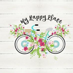 My happy place - floral mint beach bike 20x17-  whitewash rustic wood