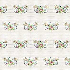 floral mint beach bike MED525-  whitewash rustic wood
