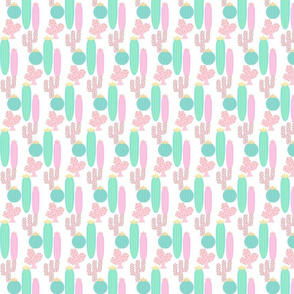 prickly cacti - pink mint  pastels SMALL 133