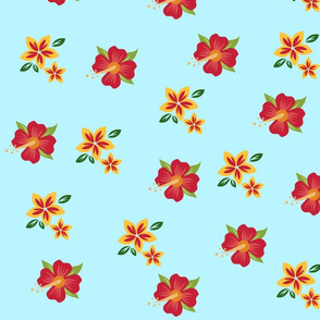 Tropical flowers on light blue background