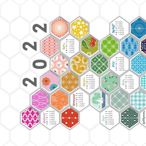 2022 Rainbow Hexies Tea Towel Calendar* || hexagons cheater quilt patchwork geometric kitchen diy cut and sew print poster wall hanging