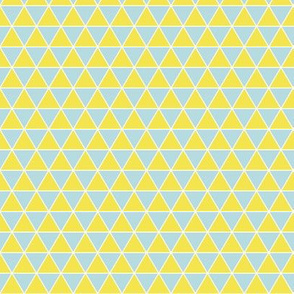 Small Triangles Summer Day - Lemon Yellow and Blue equilateral triangle geometric coordinate, summer quilting, pineapple, lemonade