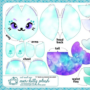 Cut & Sew Galaxy Mer-Kitty Plush Teal