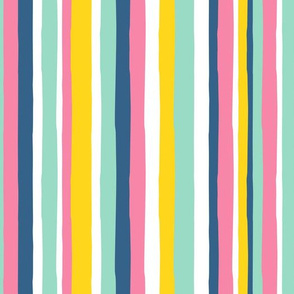 summer stripes - pink blue yellow - LAD19
