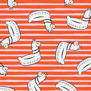 Llama pool floats - summer floaties - pink stripes - LAD19
