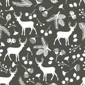 Silhouette Woodland Deer on Dark Grey