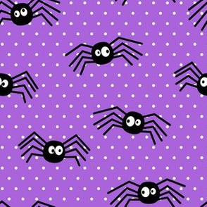Cute Spiders - Halloween - purple polka dots - LAD19