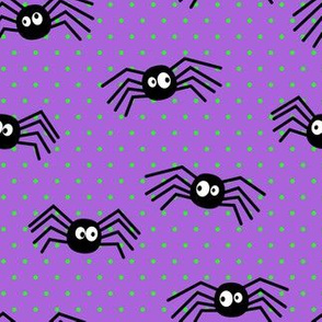 Cute Spiders - Halloween - purple with green polka dots - LAD19