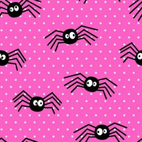 Cute Spiders - Halloween - pink polka dots - LAD19