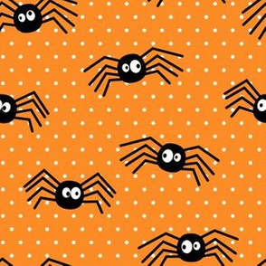 Cute Spiders - Halloween - orange polka dots - LAD19