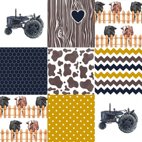 Farm//Love you till the cows come home//Hereford&Angus/Navy&Mustard - Wholecloth Cheater Quilt