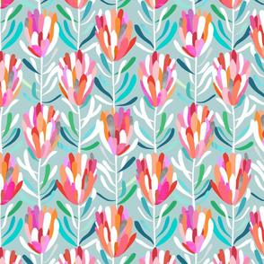 Protea - Aqua - Wallpaper - small scale