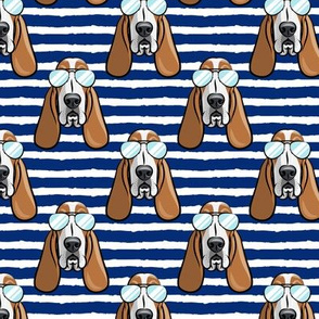 basset hound - sunnies - blue 2 stripes - dogs wearing sunglasses - LAD19