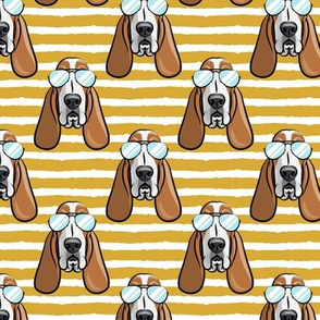 basset hound - sunnies - mustard stripes - dogs wearing sunglasses - LAD19