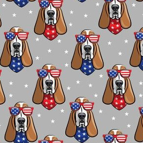 patriotic basset hound -  grey - stars and stripe - LAD19