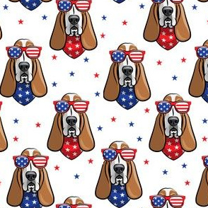 patriotic basset hound -  white - stars and stripe - LAD19
