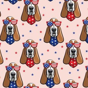 patriotic basset hound -  pink - stars and stripe - LAD19