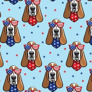 patriotic basset hound -  blue - stars and stripe - LAD19