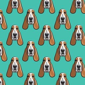 basset hound - teal - LAD19