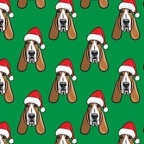 Christmas Basset hounds - holiday green - Santa hat bloodhounds -LAD19