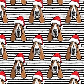 Christmas Basset hounds - holiday black stripes - Santa hat bloodhounds -LAD19