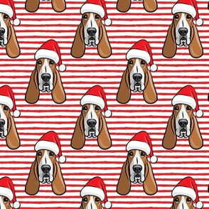Christmas Basset hounds - holiday red stripes - Santa hat bloodhounds -LAD19