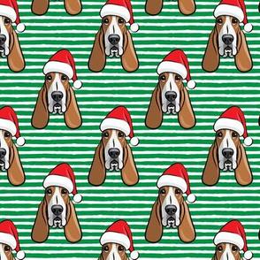 Christmas Basset hounds - holiday green stripes - Santa hat bloodhounds -LAD19