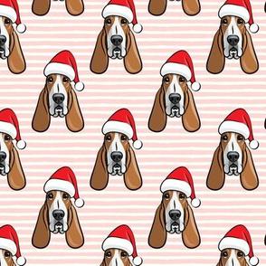 Christmas Basset hounds - holiday  pink stripes - Santa hat bloodhounds -LAD19