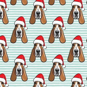 Christmas Basset hounds - holiday mint stripes - Santa hat bloodhounds -LAD19