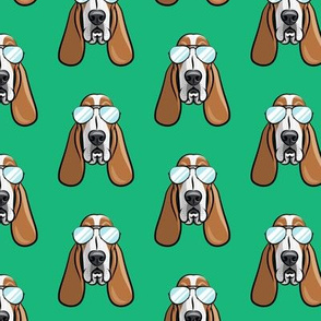 basset hound - sunnies - green - dogs wearing sunglasses - LAD19