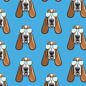 basset hound - sunnies - blue - dogs wearing sunglasses - LAD19