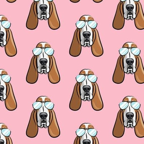 basset hound - sunnies - pink - dogs wearing sunglasses - LAD19