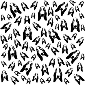 Basset Hound Dog black and white fabric