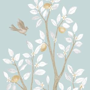 Citrus Grove Mural in Blue Mist Lemon Tree