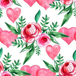 Watercolor flowers and hearts