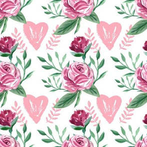 Flower pattern with hearts