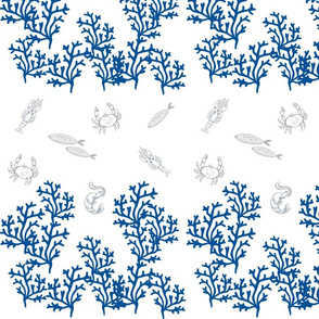 lobster coral reef border LG 105- ocean blue