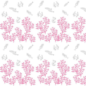 lobster coral reef border MED7- pink