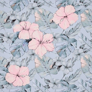 Hibiscus And Leaf Pattern