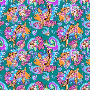Koi in the Water Lily Pond ocean green