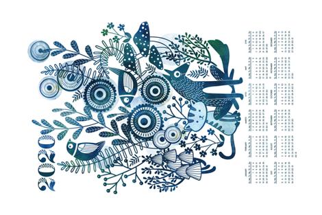 2020 indigo garden friends calendar fabric by cjldesigns on Spoonflower - custom fabric