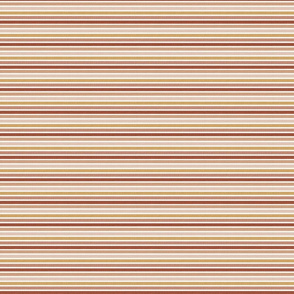 "1/4"" Horizontal stripes in red pink mustard toffee earth colours"